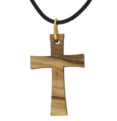 Olive Wood Cross Necklace Modern