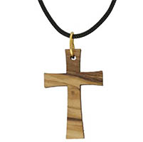Modern Olive Wood Cross Necklace