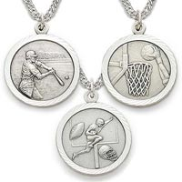 Sterling Silver Male Christian Sports Necklaces (11 Sports)