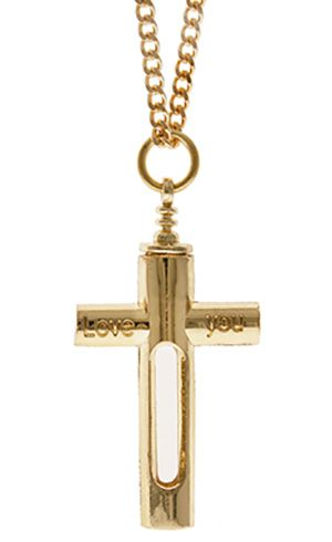 Memorial Ashes Love You Gold Cross Necklace Cremation Ashes