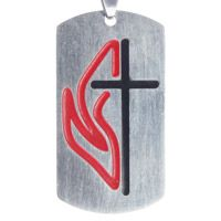 United Methodist Cross & Flame Dog Tag Necklace,