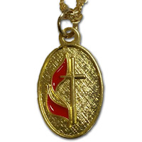 UMC Necklace Gold Oval Cross and Flame