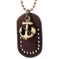 Anchor Necklace Leather Dog Tag