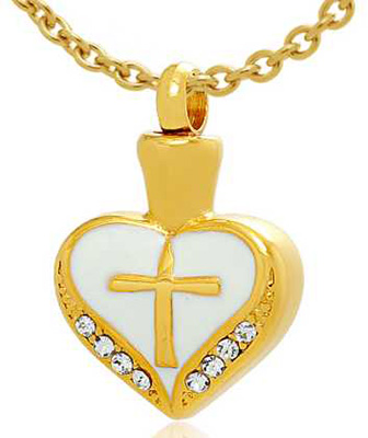 Gold Cremation Heart Urn Jeweled Necklace w/ Cross