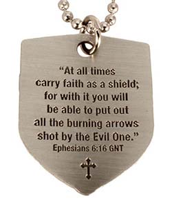 Faith Shield Cross Pendant w Bible Quote
