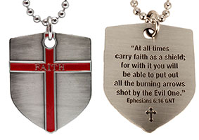 Faith Shield Cross Pendant w Bible Quote