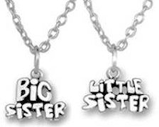 Big & Little Sisters Pendants Silver  Set of 2