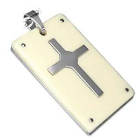 Cross Dog Tag Stainless Steel  & Resin Frame