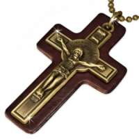 Crucifix Genuine Leather Cross Chain Necklace