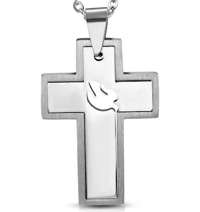 Cross w/ Spirit Dove Necklace Stainless Steel
