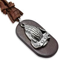 Praying Hands Genuine Leather Dog Tag Necklace