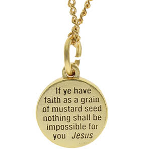 Gold Faith Mustard Seed Necklace & Bible Quote