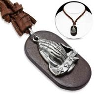 Praying Hands Genuine Leather Necklace