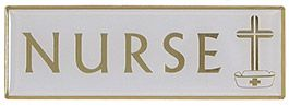 Church Nurse Badge Magnetic With Cross White