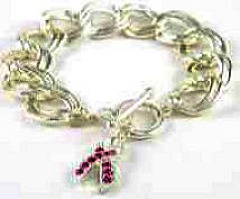 Breast Cancer Silver Toggle Bracelet