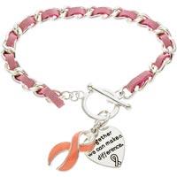 Breast Cancer Pink Ribbon Toggle Bracelet