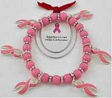 6 Pink Ribbons Breast Cancer Bracelet