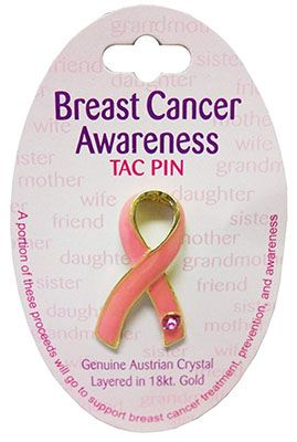 Pink Breast Cancer Awareness Rhinestone Tac Pin