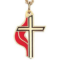 Gold United Methodist Cross Necklace UMC