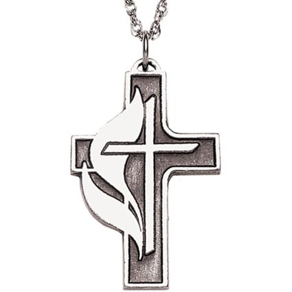 United Methodist Confirmation Necklace Pewter