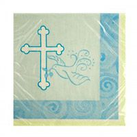 Faithful Dove Blue Beverage Napkins (Pkg of 16)