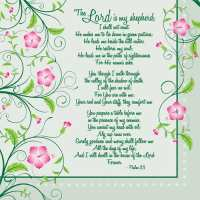 Lord is My Shepard Flower Napkins Psalm 23
