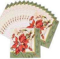 Christmas Poinsettia Luncheon Napkins (Pkg of 16)