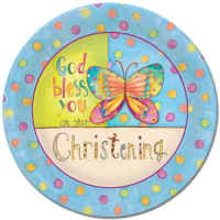 God Bless You Christening Paper Plates (Pkg of 8)