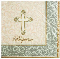 Baptism Cross Beverage Napkins (Pkg of 16)