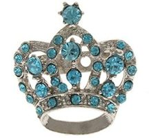 Rhinestones Crown Brooch Pin Sky Blue