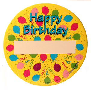 Happy Birthday Name Badge Pin Pink