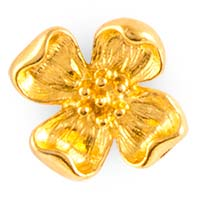 Dogwood Flower Pin Gold Plated