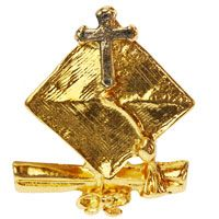 Graduation Pins with Cross Gold