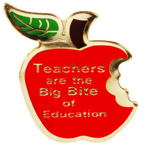 Teacher's  Big Bite Apple Lapel Pins