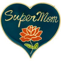 Super Mom Pin on Red Heart