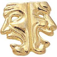 drama mask lapel pin