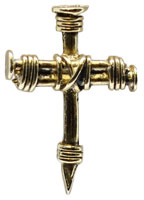 Wrapped Nail Cross Lapel Pin Gold
