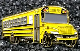 Yellow School Bus Side View Lapel Pin