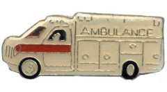 Ambulance Pin Gold White Jacket or Hat
