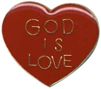 God is Love Heart Shaped Pin