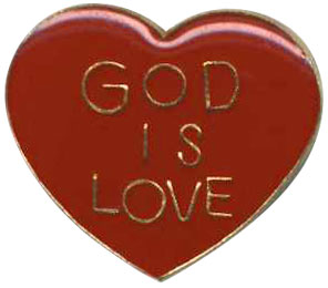 God is Love Heart Shaped Pin