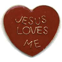 Jesus Loves Me Heart Pin  red