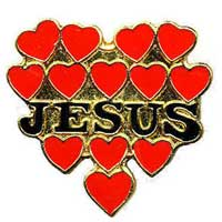 Jesus with hearts pins