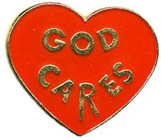 God Cares Pins on Heart  red