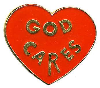 God Cares on Red Heart Pins