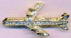 Jet Airplane Rhinestone Pin Gold