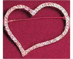 Pink Heart Rhinestone Crystal Brooch Silver