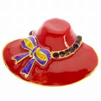 Red Hat Fashion Brooch Pin