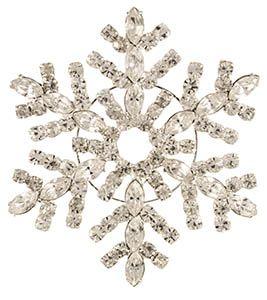 Rhinestone Snowflake Brooch Silver