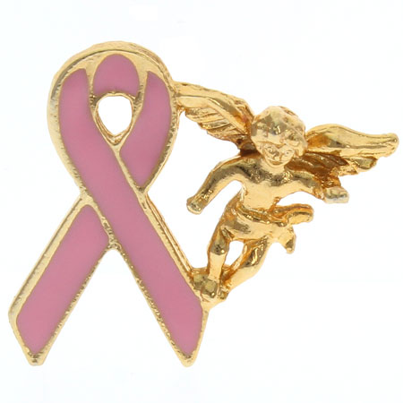 Breast Cancer Guardian Angel Lapel Pin